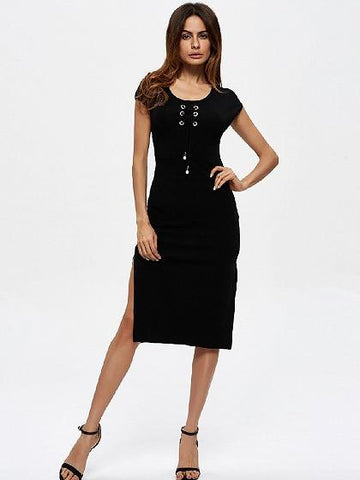 Black Eyelet Lace Up Front Side Split Bodycon Dress