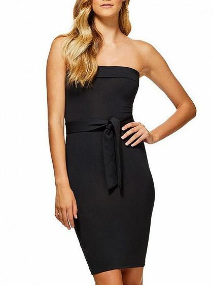 Black Folded Bandeau Tie Belt Body-Conscious Dress