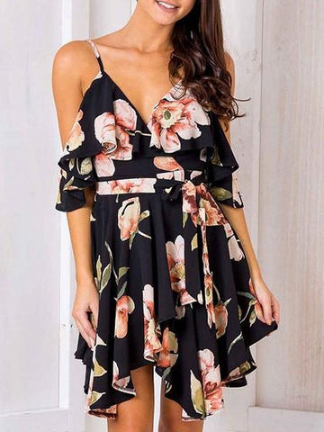 Black Cold Shoulder Ruffle Floral Print Asymmetric Cami Dress