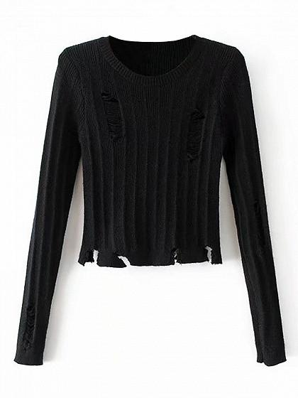 DaysCloth Black Ripped Long Sleeve Cropped Knit Jumper