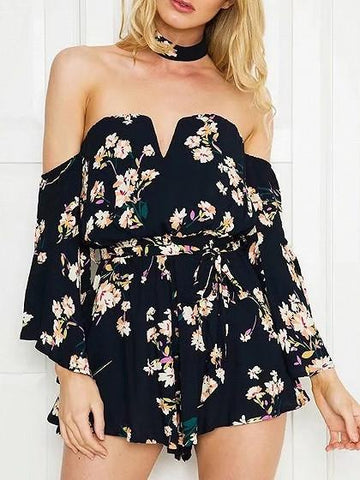Black Off Shoulder Floral Tie Waist Flared Sleeve Romper Playsuit
