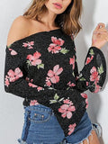 Black Off Shoulder Floral Flared Sleeve Crop Top