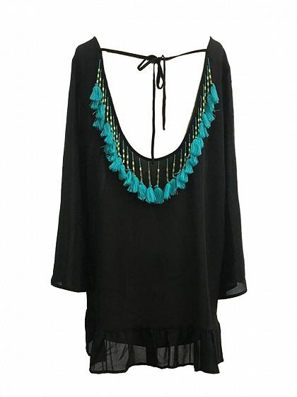 Black Backless Tassel Detail Ruffle Hem Beach Cover Up Mini Dress
