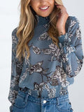 Blue High Neck Floral Long Sleeve Blouse