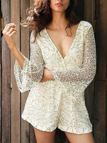 Beige V Neck Sequin Lace Flare Sleeve Romper Playsuit