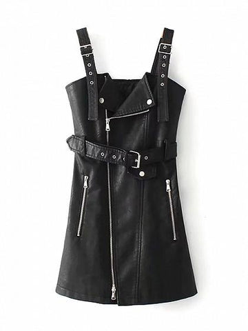 Black Asymmetric Zip Front Belted Waist Leather Look Tank Dress