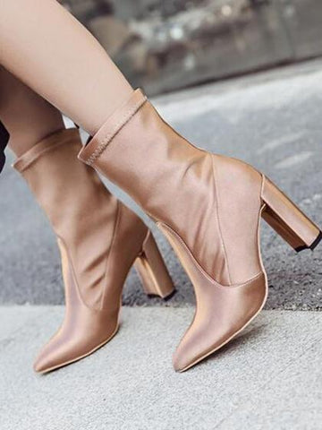 Gold Satin Look Pointed Toe Heeled Boots