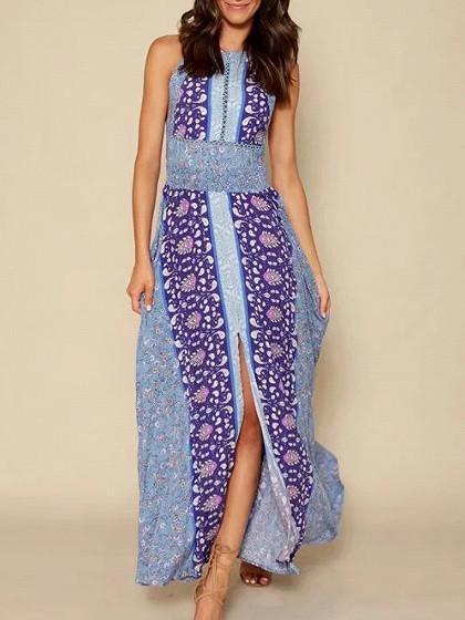 DaysCloth Blue Halter Paisley Print Tied Strappy Back Split Maxi Dress
