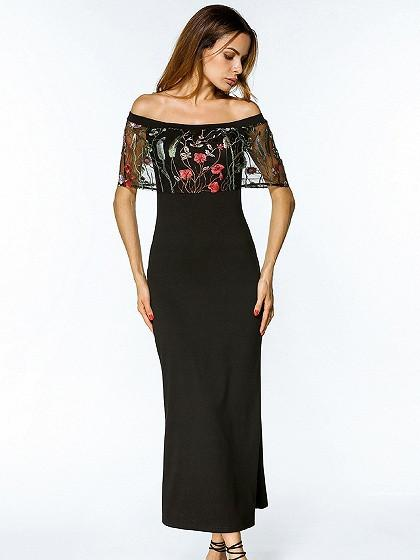 DaysCloth Black Off Shoulder Embroidered Mesh Layer Maxi Dress