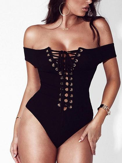 Black Off Shoulder Lace Up Cross Back Rib Bodysuit