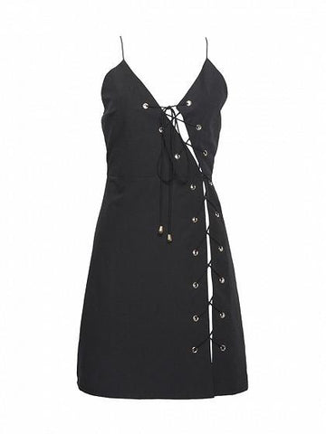 Black Asymmetric Eyelet Lace Up Cami Slip Dress