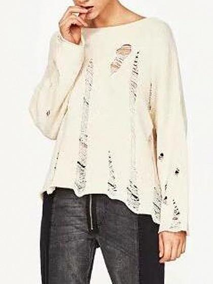 DaysCloth Beige Ripped Long Sleeve Knit Jumper