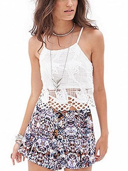 DaysCloth White Spaghetti Strap Cut Out Lace Cami Top