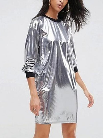 Silver Metallic Long Sleeve Mini Dress