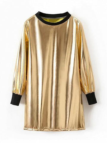 Golden Metallic Long Sleeve Mini Dress