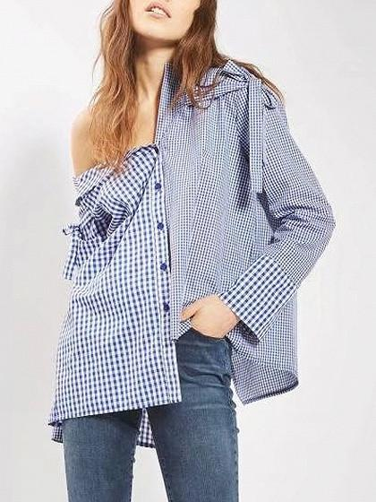 DaysCloth Blue Mixed Gingham One Shoulder Asymmetric Hem Shirt