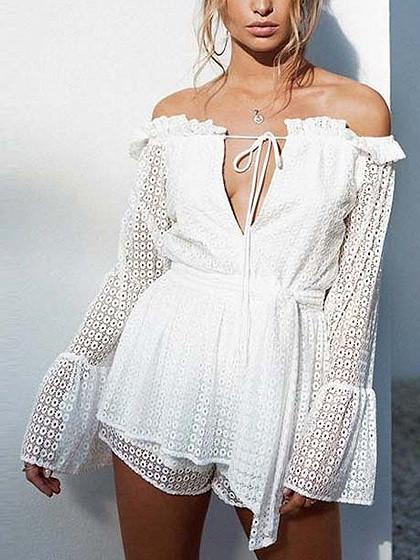 DaysCloth White Off Shoulder Tie Front Flared Sleeve Cutwork Lace Blouse Top