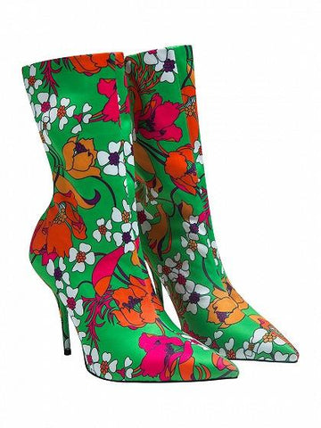 Green Floral Print Satin Look Pointed Heeled Boots