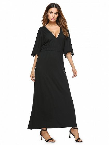 Black V Neck Tie Back Pom Pom Detail Half Sleeve Maxi Dress