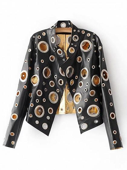 Black Metallic Eyelet Leather Look Open Front Jacket