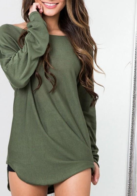 DaysCloth Dark Green Irregular Round Neck Long Sleeve Pullover Sweater