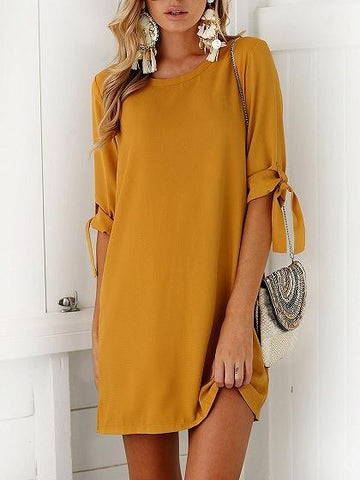 Tie Sleeve Shift Mini Dress