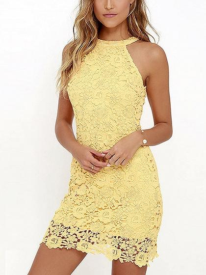 DaysCloth Yellow Halter Cut Away Shoulder Lace Dress