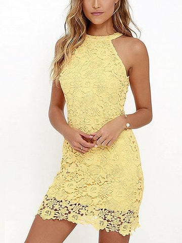 Yellow Halter Cut Away Shoulder Lace Dress