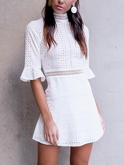 White High Neck Cutwork Detail Flared Sleeve Mini Dress