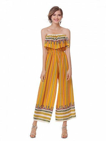 DaysCloth Yellow Bandeau Geo-tribal Print Wide Leg Jumpsuit