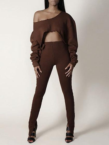 DaysCloth Tan Curved Hem Long Sleeve Crop Sweatshirt
