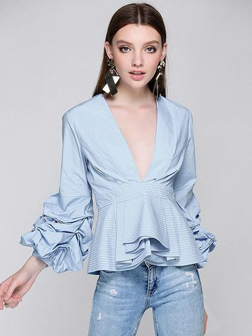 Blue Plunge Front Ruffle Hem Puff Sleeve Top