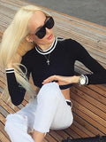 Black Contrast Trims Long Sleeve Cropped Sweatshirt