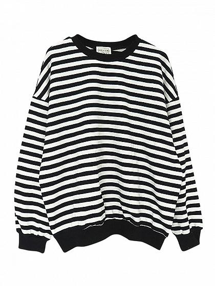 Black Stripe Drop Shoulder Long Sleeve Sweatshirt