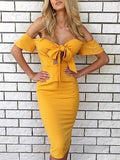Yellow Off Shoulder Tie Bow Front Cut Out Bodycon Dress