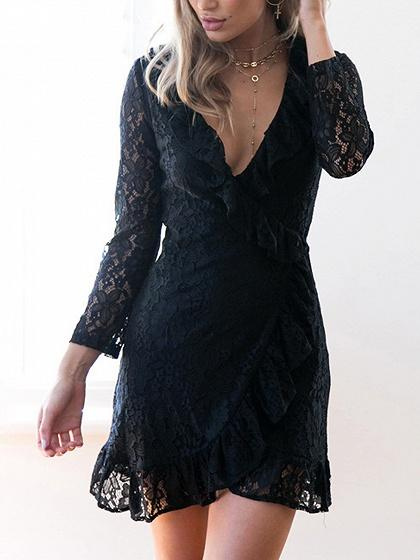 DaysCloth Black V-neck Ruffle Trim Tie Side Wrap Lace Dress