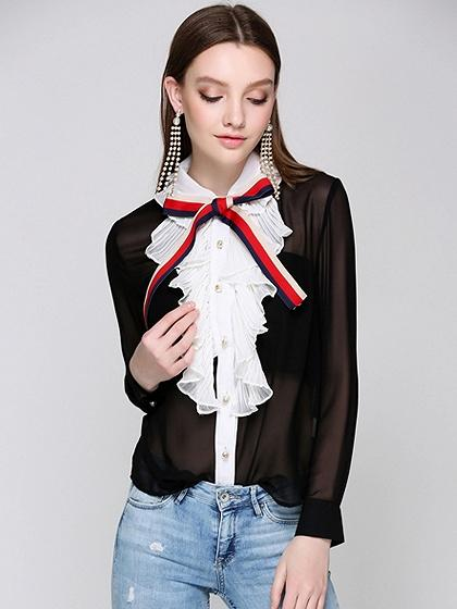 DaysCloth Black Contrast Frill Front Sheer Long Sleeve Chiffon Shirt