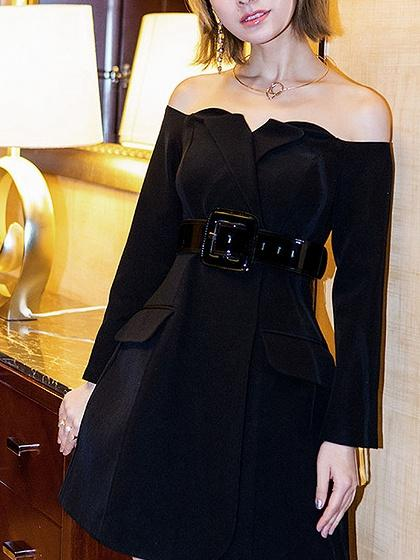 Black Off Shoulder Fold Detail Belted Long Sleeve A-line Dress