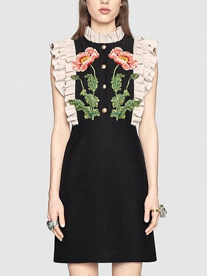 DaysCloth Black 3D Embroidery Floral Contrast Frill Trim Sleeveless Shift Dress