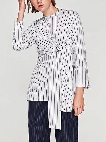 DaysCloth White Stripe Knot Front Long Sleeve Blouse