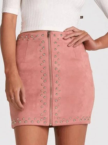 Pink Faux Suede High Waist Studs Zip Up Front Pencil Mini Skirt