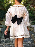 White Cut Out Puff Sleeve Bow Belt Embroidery Organza Dress