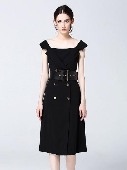 Black Notch Lapel Double Breasted Belted Midi Dress