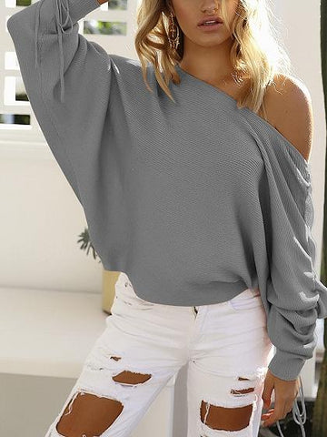 Gray Off Shoulder Drawcord Ruched Sleeve Ribbed Knit Sweater