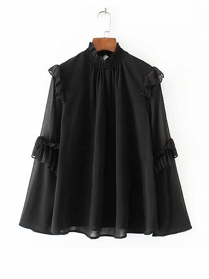 DaysCloth Black High Neck Ruffle Trim Long Sleeve Blouse