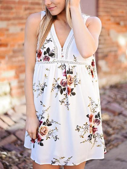 DaysCloth Street Style V neck Lace Little Floral Print Sleeveless Dress