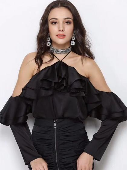 Black Halter Cold Shoulder Layer Ruffle Long Sleeve Blouse