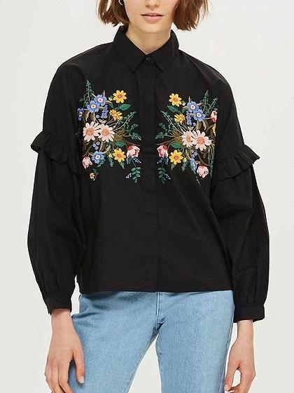 DaysCloth Black Embroidery Floral Frill Trim Long Sleeve Shirt