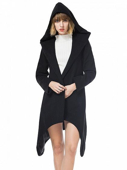 Black Tie Waist Asymmetric Hem Wool Longline Hooded Coat