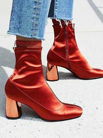 Red Stretch Heeled Sock Boots